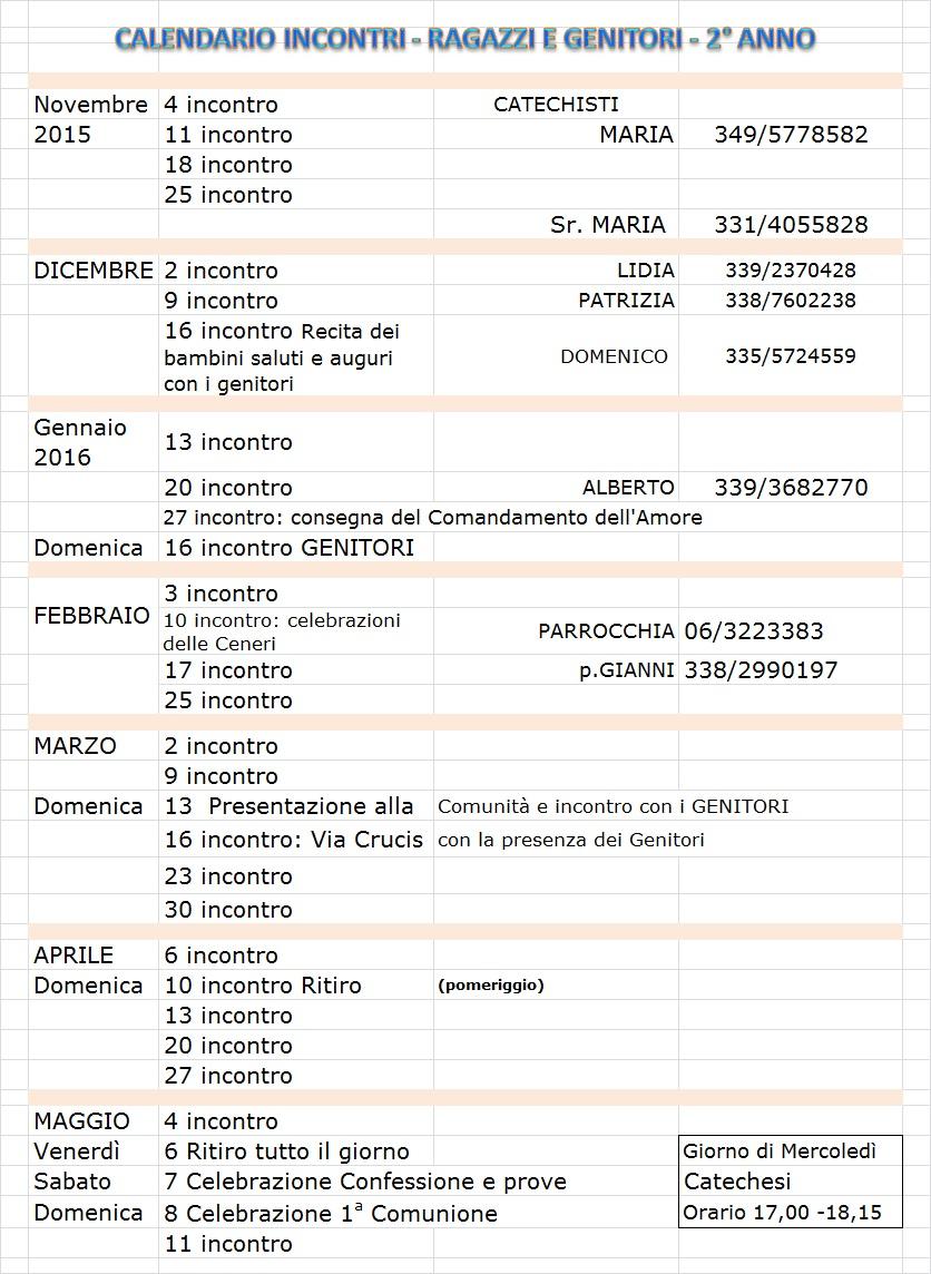 CALENDARIO INCONTRI - RAGAZZI E GENITORI - 2° ANNO